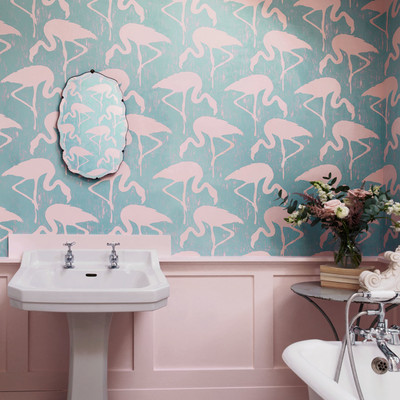 Flamingos - Turquoise / Pink