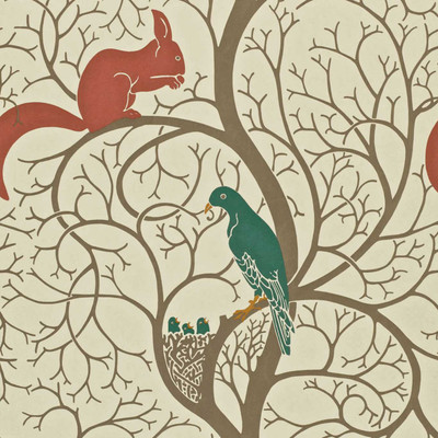 Squirrel & Dove - Teal / Red