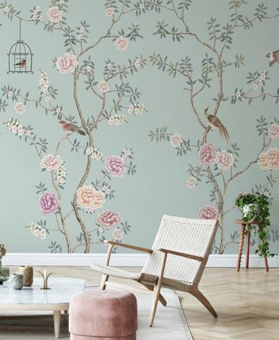 Mural - Birds Fairyland Mint (Per Sqm)