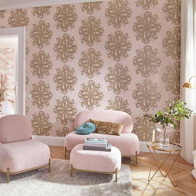 Baroque Damask - Blush Pink / Gold
