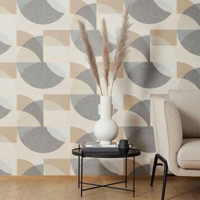 Geometric Circle - Mustard / Grey / Beige