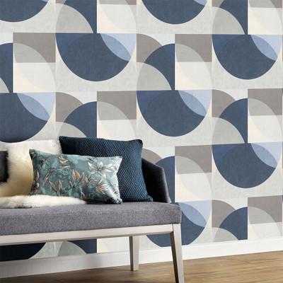 Geometric Circle - Grey / Blue