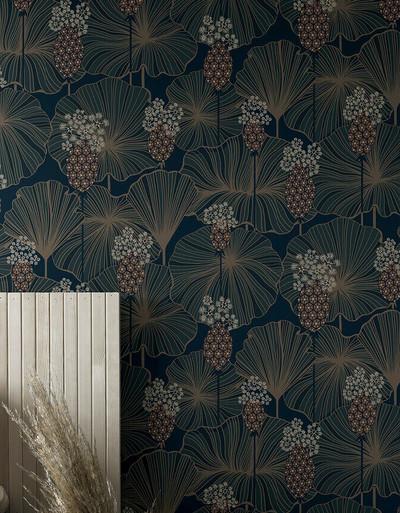 Umbrella Leaves - Blue