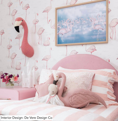 Flamingos - Pink & Off White (1 Roll Avail.).