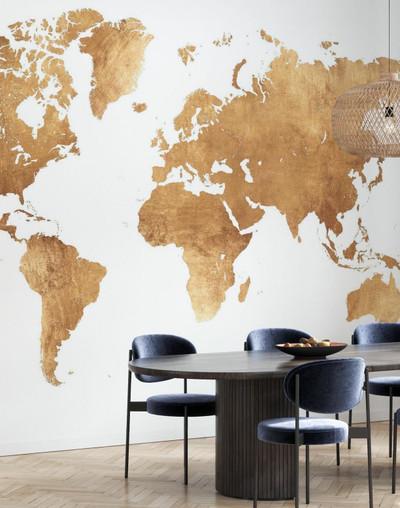 Mural - World Map Brushed Metal (Per Sqm)