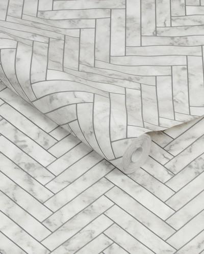 Marble Chevron Tile - White
