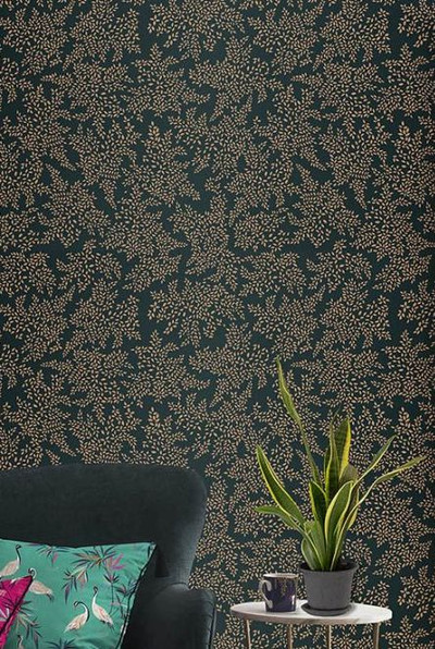 Metallic Leaves - Forest Green (1.4m x 3m)