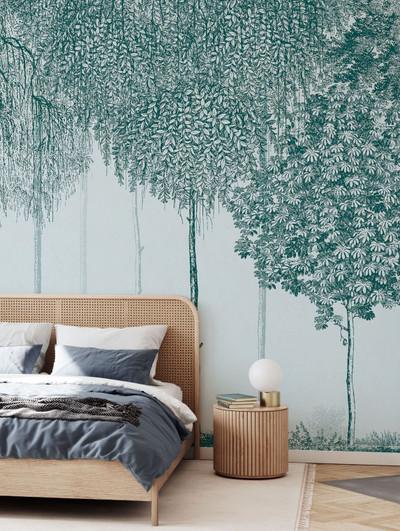 Mural - Trees Cascade Verdigris (Per Sqm)