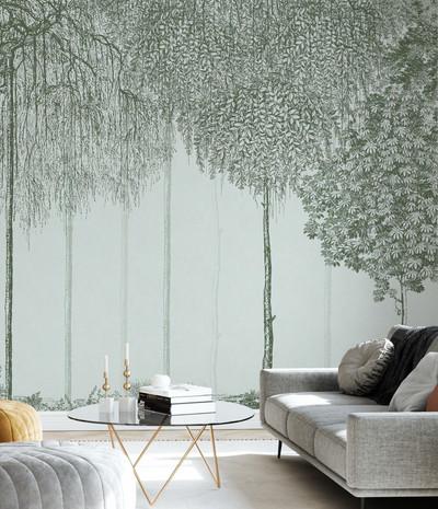Mural - Trees Cascade Jade (Per Sqm)