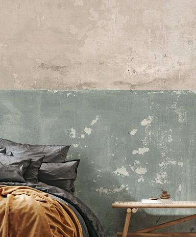 Mural - Flaking Plaster Wall Green (Per Sqm)