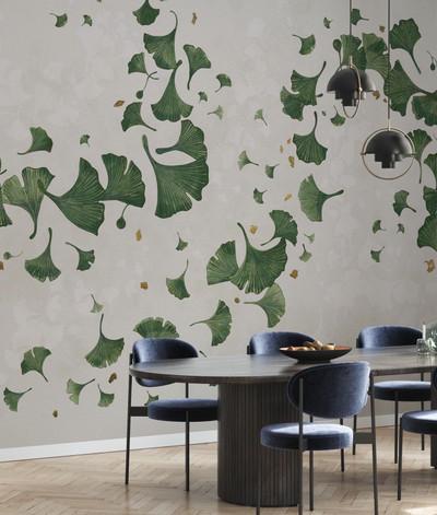 Mural - Ginkgo Leaves Green (Per Sqm)
