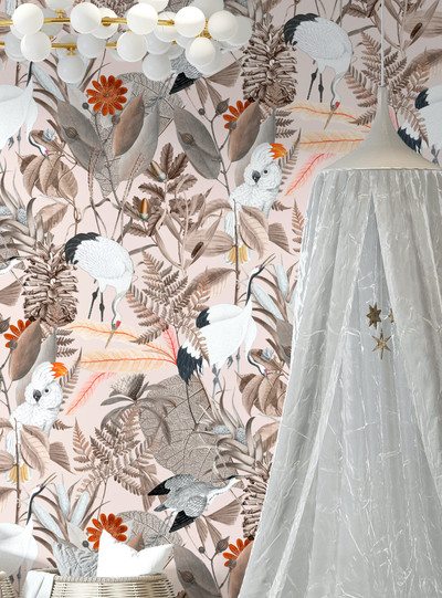Mural - Birds of a Feather Pink (Per Sqm)