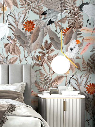 Mural - Birds of a Feather Mint (Per Sqm)