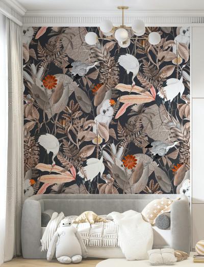 Mural - Birds of a Feather Black (Per Sqm)