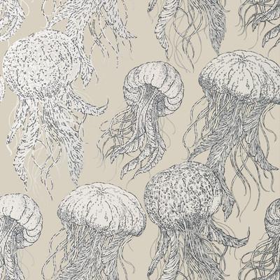 Jellyfish Bloom - Silver & Beige