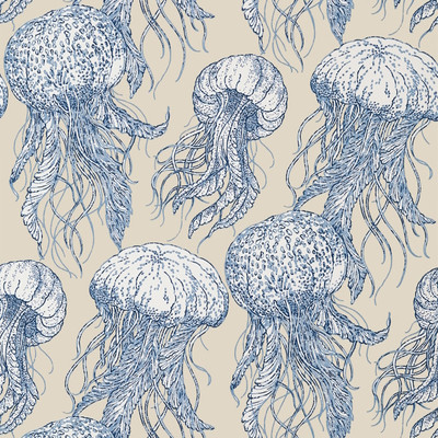 Jellyfish Bloom - Blue & Beige