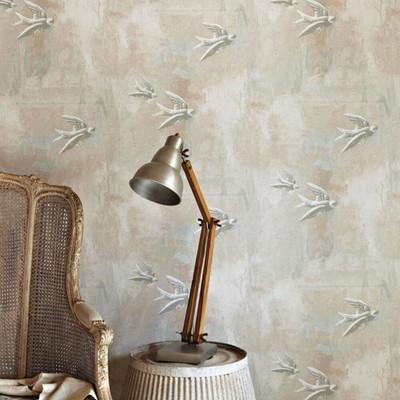 Fresco Birds - Plaster Pink / Grey