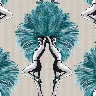 SHOWGIRLS - TEAL / TAUPE