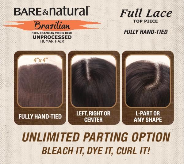 Sensationnel Bare Naural Brazilian unprocessed Full lace top piece(closure)|WigEXtensioSale