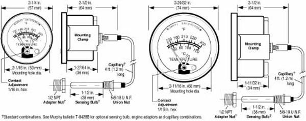 Temperature Gauge A20T / A25T Murphy