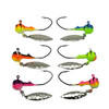 Deluxe Kryptonite Glow Walleye Jigs    These come as a pack of 5 and include 1 of each colour! 1/4 oz walleye jigs coated in Big Sky Flies & Jigs custom kryptonite glow powder paint. These jigs feature a NEW 1/0 Eagle Claw Little Nasty hook for extra stick when the walleye bite. Bright attractive colours during the day make these a hit when the sun is out, but beware they pack a kryptonite glow punch after sundown when the walleye are feeding. These are a must have for any fishing trip!