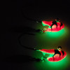 The GLOW CYCLONE jig will drive fish crazy, the FLASH and the Sparkle with only make the fish go crazier for your bait. These are in 1/4 oz they work great for  PIKE,WALLEYE,GREENBACKS,MUSKY,LAKE TROUT. These are poured on e super strong Eagle Claw hook in Black nickle for EVEN more FLASH.