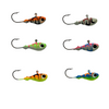 Great for all your walleye and Perch needs, These hooks are a Great addition to anyone's tackle collection.  These Jigs are great to use in Low lights conditions, the are Painted with a very durable Powder paint and have a second protective coating on them as well. They are Painted in our custom KRYPTONITE GLOW they are poured on a Eagle Claw 570 #1/0 Hook .This includes a set of 5 1/4 oz Jigs( One of each color )