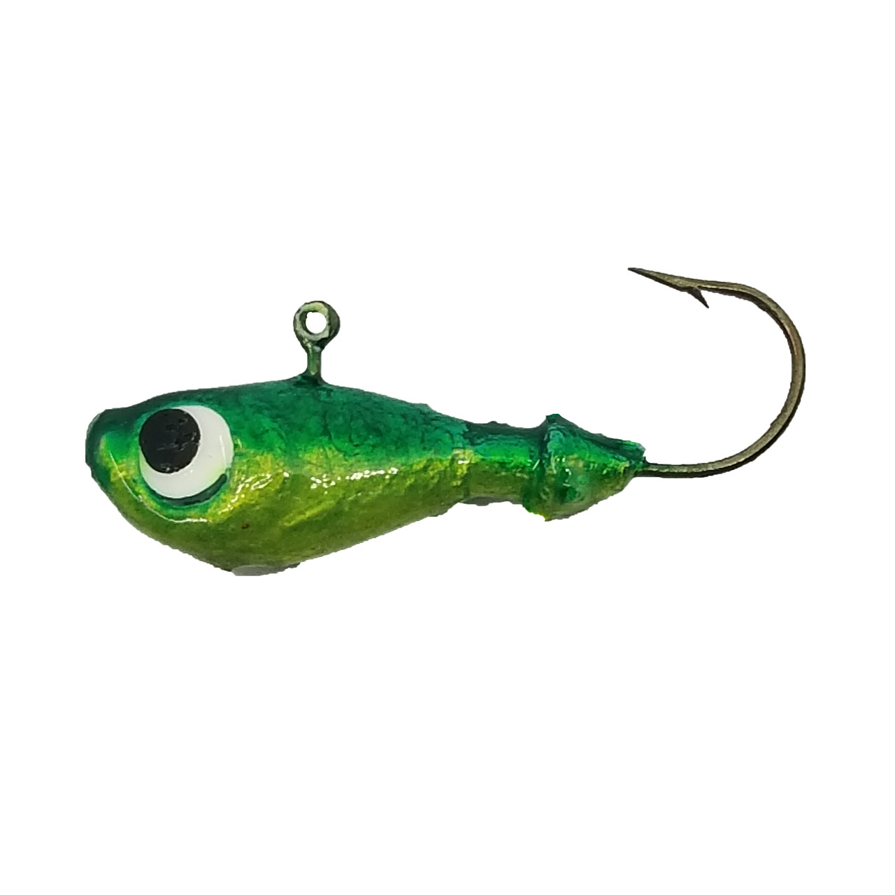 Ultra Minnow   Alysha's #1 Tackle Box Go To  Looking for realistic presentation of a jig? Then look no further. The ultra minnow jigs have great detail including gill plates, fins, lips, scales and recessed eyes and pronounced brow. Also includes center balanced feature  and 90 degree eye that make these great for vertical jigging and trolling because they mimic horizontal swimming motion of a natural minnow. With our clean and simple UV paint designs we wanted to ensure that the details of the actual jig are not over coated and hidden.  These are also an excellent option for tying bucktail and maribou on.   1/8 oz are ideal for perch and panfish species. These are so like-like that perch are known to bite these even without bait. ¼ oz are idea size for walleye and pike. Has the walleye bite slowed down in the heat of the day? Then contact us about getting 3/8 oz to 5/8 oz ultra minnows, then you can attach a swivel to them and troll them. The sleek design allows for excellent trolling action, tipped with a dew worm, leech, or favourite soft plastic, they slice through the water as if they, themselves are swimming along.