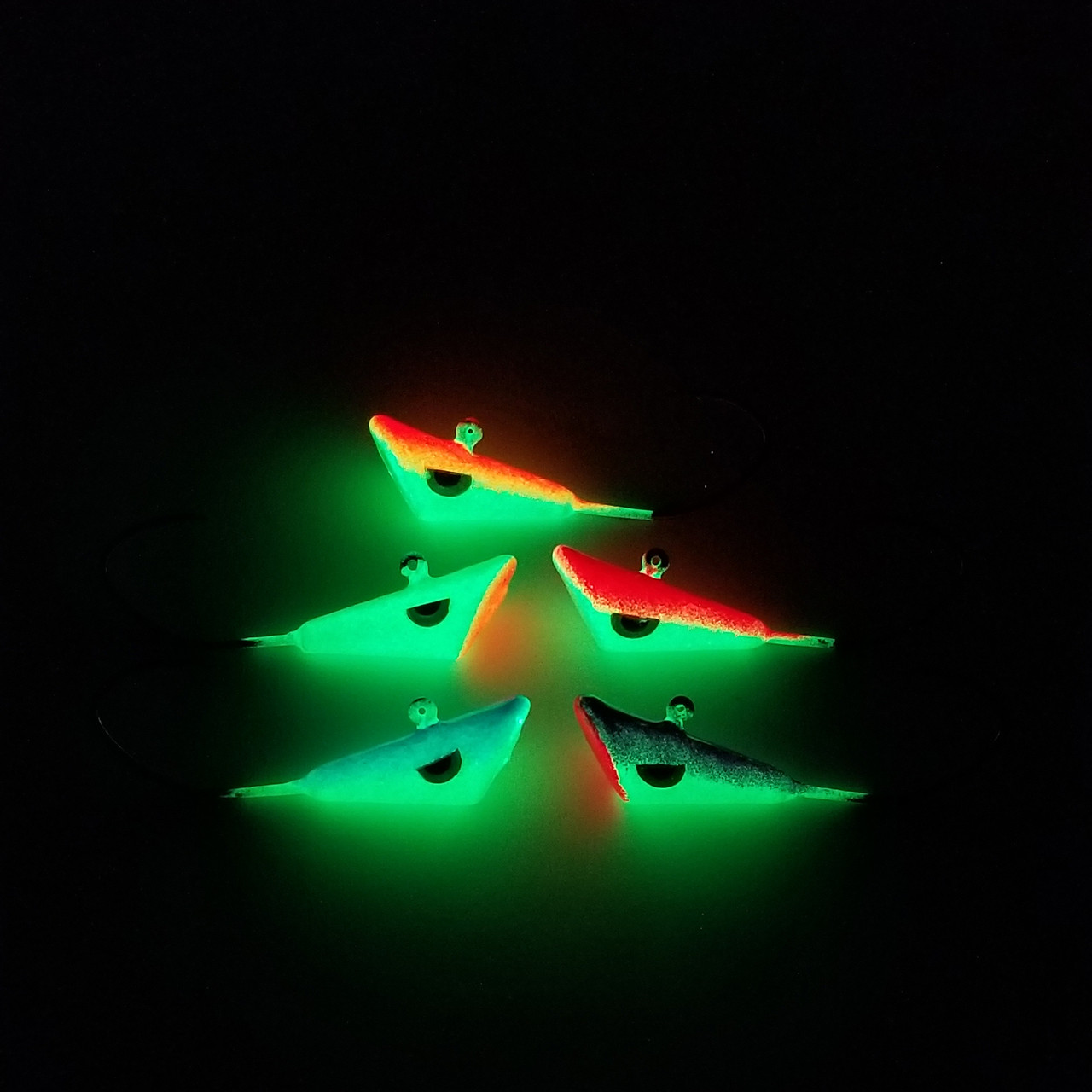 """These are Poured on s EAGLE CLAW """" LITTLE NASTY HOOK """" 3/0 BLACK NICKLE , it is painted with our Very own KRYTPONITE GLOW powder Paint, as well has a Mean EYES !!!!     These are Great for Walleye, Pike and Ling Cod .  Tip you hook with your Favourite Bait ( Nite Crawlers, Leaches, Minnows )"""