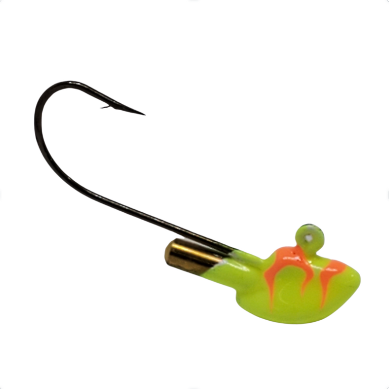"""The Rattle Jig Head has a high quality durable BIG SKY powder paint in our KRYPTONITE GLOW.  Comes with a Super Strong Eagle Claw hook and a VERY loud brass rattle built into the head.  Erie Stand Up Jigs Erie stand up jigs are very popular for presenting a dynamic presentation on the bottom of a body of water. Originally based on the Erie Rig Lure that first became popular on Lake Erie these quickly gained popularity across North America. Weighted to stand up, you can drop these right to the bottom. The upright display allows anglers to """"river-hook"""" or """"Canadian-style hooking"""" rig their bait on these jigs for a realistic presentation that makes the minnow appear as if its alive and feeding off of bottom. 1/8 oz and ¼ oz are most common size for walleye, but be sure to ask us about heavier weights available with upgraded hooks for river fishing.     http://www.outdoornews.com/2014/11/13/a-simple-minnow-hooking-technique-for-open-water-or-hard-water-fishing-video/"""