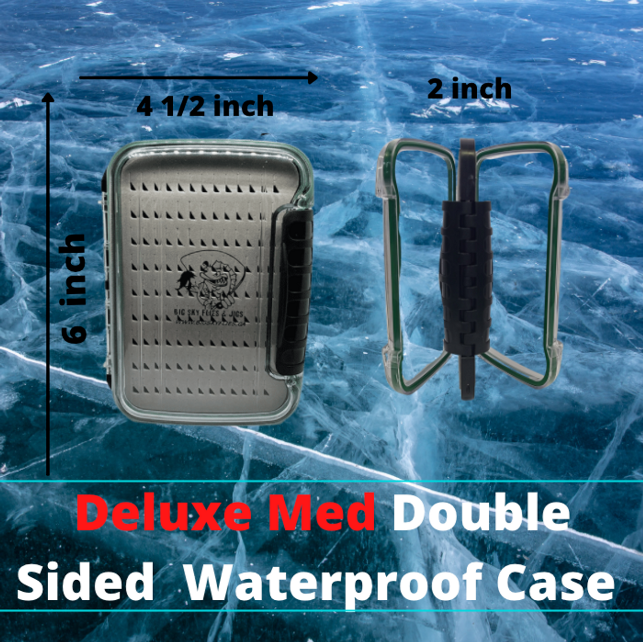 Waterproof Case DOUBLE Sided   Heavy-Duty two-Sided Tackle Storage Waterproof Seal High Compression Hook Clips Slotted Compression Foam for Protection or Extra Jig Storage   Fits Most 3/8 oz in Lighter Jigs and Most jigging Spoons     Great addition for any angler to keep your tackle safe and sound