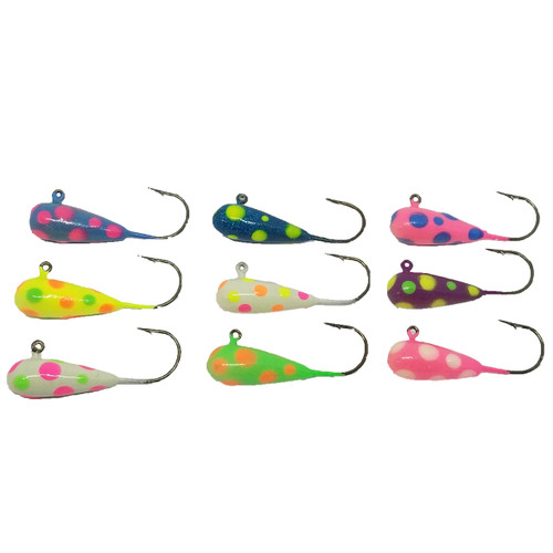This is a Great selection if you are targeting fish in less then clear water, the glow will be seen from far away there for the fish will have to come check it out and taste your great bait.  Tip the jig with Minnows, Leaches, Worms, or your Artificial Bait.  1/4 oz Jig Head  Eagle Claw 570 Hook  Kryptonite Glow Paint