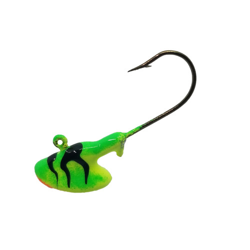 """Erie Stand Up Jigs Erie stand up jigs are very popular for presenting a dynamic presentation on the bottom of a body of water. Originally based on the Erie Rig Lure that first became popular on Lake Erie these quickly gained popularity across North America. Weighted to stand up, you can drop these right to the bottom. The upright display allows anglers to """"river-hook"""" or """"Canadian-style hooking"""" rig their bait on these jigs for a realistic presentation that makes the minnow appear as if its alive and feeding off of bottom. 1/8 oz and ¼ oz are most common size for walleye, but be sure to ask us about heavier weights available with upgraded hooks for river fishing.   http://www.outdoornews.com/2014/11/13/a-simple-minnow-hooking-technique-for-open-water-or-hard-water-fishing-video/"""