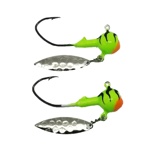 """They """" Baller """" Jigs are a great way to attract the target fish when you need that little but of Bling on your hook. They are attached with a Quick Release clip just incase you want to change it up a bit  of you can add a stinger for that short bite.   Tip your Jig with Minnows, Leaches, Worms, or your favourite plastic bait.   1/4 oz Baller jig   Eagle Claw 3/0 Black NICKLE Little Nasty Hook ( NEW )   Painted with Powder Paint then backed with a extra coat of clear to make sure you get the Best Durability possible out of your investment."""