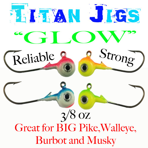 These Jigs are poured on a EXTRA STRONG eagle claw Hook,  They are Hand poured, Painted.   Titan Hooks series are the BEST for the HUGE walleye and Pike that you are targeting, as well they offer a great Longer Shank hook for the Bigger Minnows and Other rubber Baits.    Titan Series hooks are exclusive to BIG SKY FLIES & JIGS !!!!!!