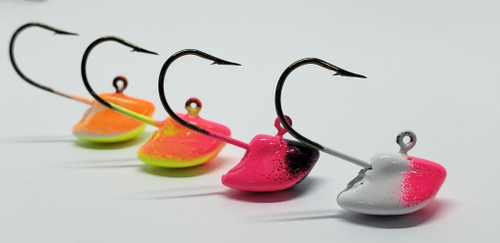 Erie Stand Up 1/4oz These short shank erie stand ups are the perfect combination for those finicky walleye who are light biting. The small presentation paired with a minnow or leech assists with those bites when walleye are just sucking it in. Short shank jigs are also a favourite for using with live minnows. Plus the design of the Erie Jig keeps your bait standing up off the bottom, giving the presentation of a minnow feeding. The added bonus of the short shank with no collar also means quicker hook set.