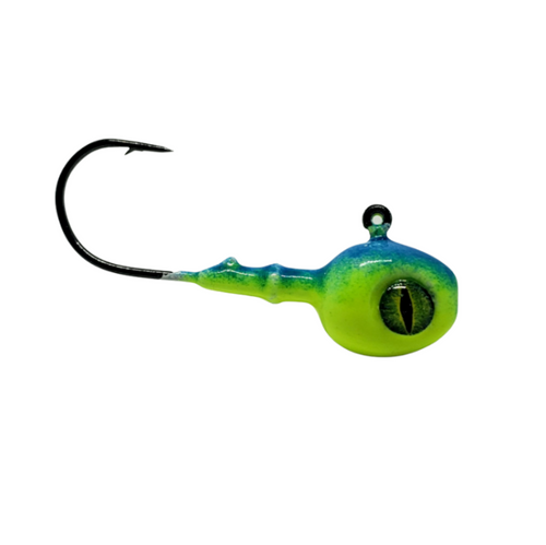 Big Sky Flies & Jigs Snake Eye Jigs Simple, Clean and Versatile. These jigs feature the walleye style jig paired with the extended collars and upgraded hooks making them hearty and easy to pair with large bait or plastics. Clean kryptonite glow paint jobs feature the extra special 3D Deluxe Snake Eyes... catching the eye of many anglers and multiple fish species. Be sure to check out the extra unique white snake eye jig that glows blue!