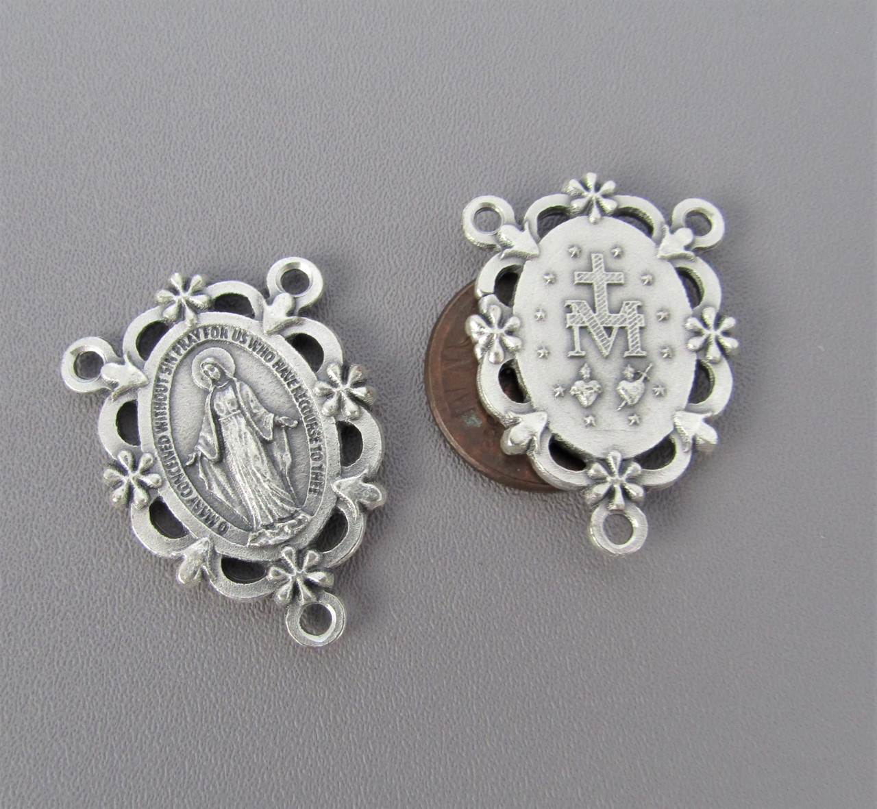 Miraculous Medal Scallop Rosary Center Silver*