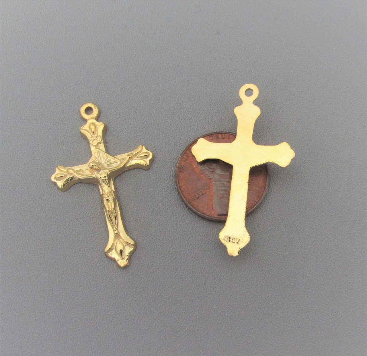"Teardrop 1"" Crucifix GOLD -Lot 6"