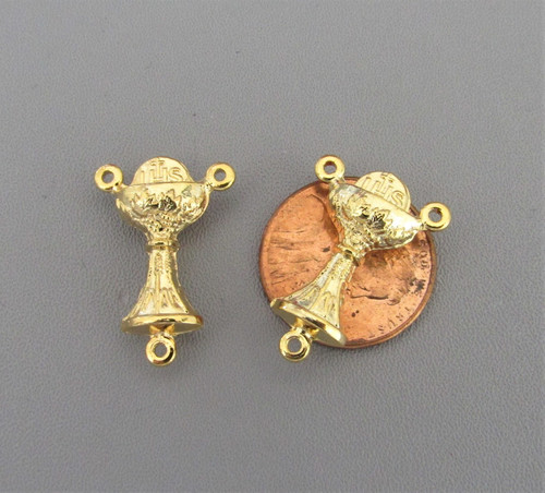 """Communion Chalice Rosary Center .9"""" GOLD -Lot 3"""
