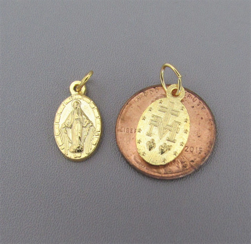 Miraculous Medal Charm SMALL Gold ~ Lot 6