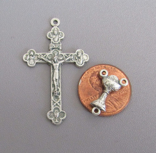 Rosary CENTER & CRUCIFIX Set First 1st Communion