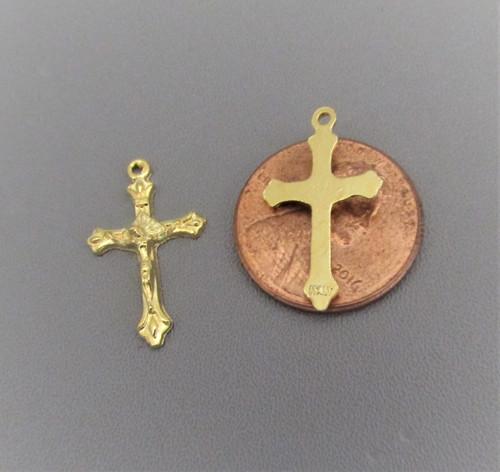 TINY Rosary Crucifix GOLD - Lot 6