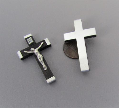 "Black Wood Rosary Crucifix 1.75"" MEDIUM"