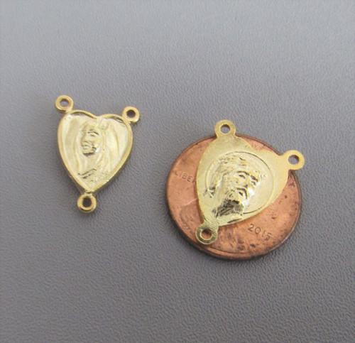 HEART Shape Rosary Center Mary & Jesus GOLD - Lot 3
