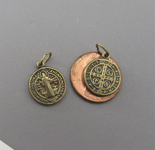 Saint BENEDICT Holy Medal SMALL Bronze ~ Lot 6