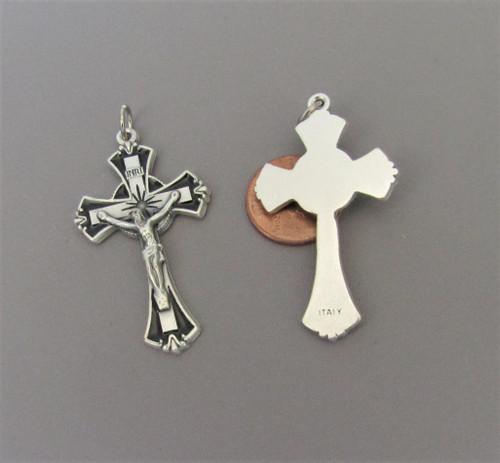 "Black & Silver Enamel Rosary Crucifix 2"""