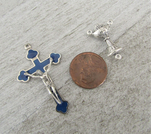 Rosary CENTER & CRUCIFIX First 1st Communion BLUE