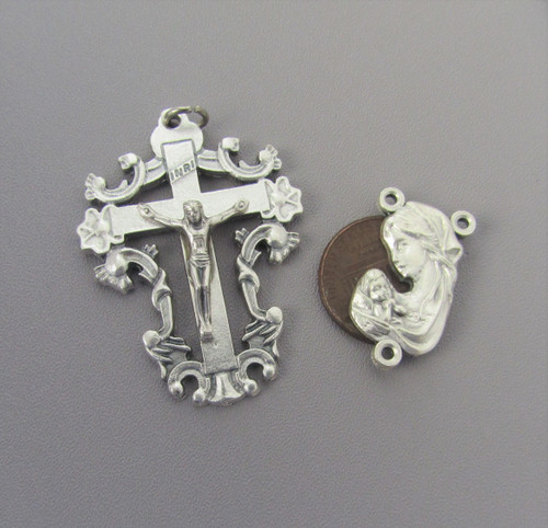 Madonna & Child SCROLL Crucifix & Centerpiece 2pc set