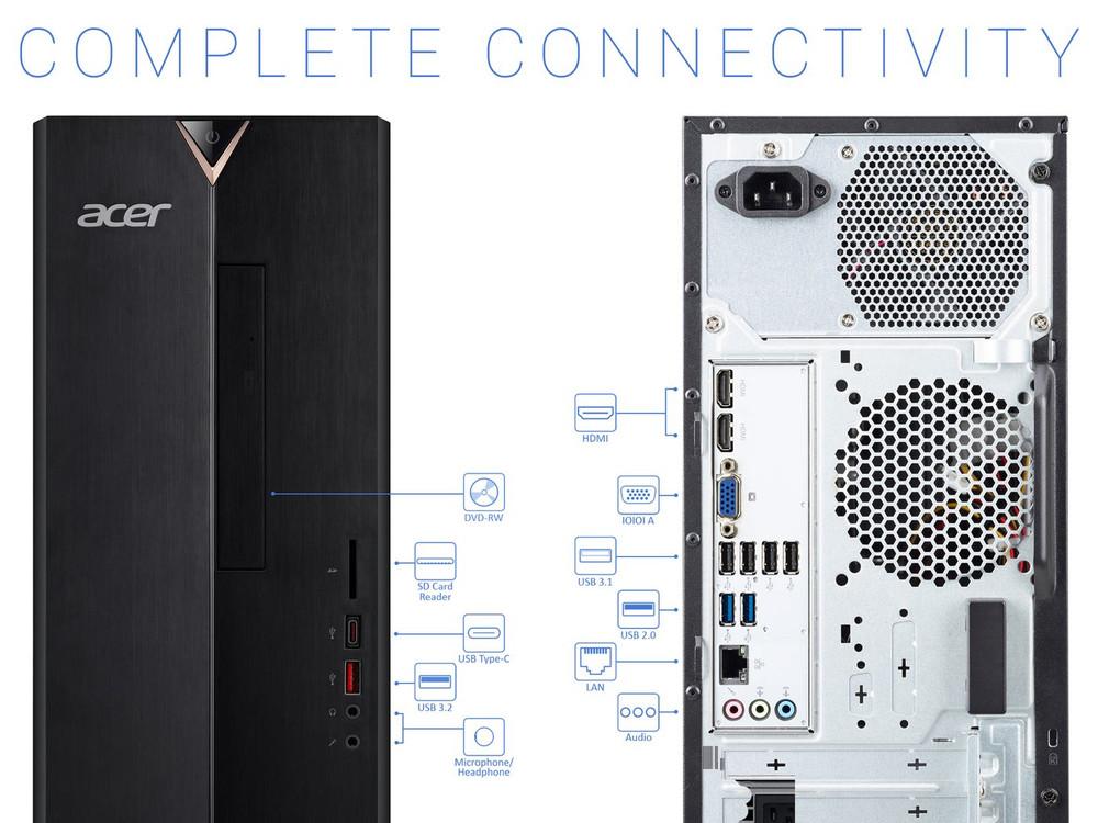 Acer Aspire TC Desktop Intel Core i3-10100 3.6GHz 8GB Ram 512GB SSD Windows 10 Home | TC-895-UA91 | Scratch & Dent